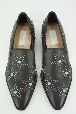 Valentino Black Leather Beatles Star Studded Pointy Loafers Size 37 NIB $1095 Sz