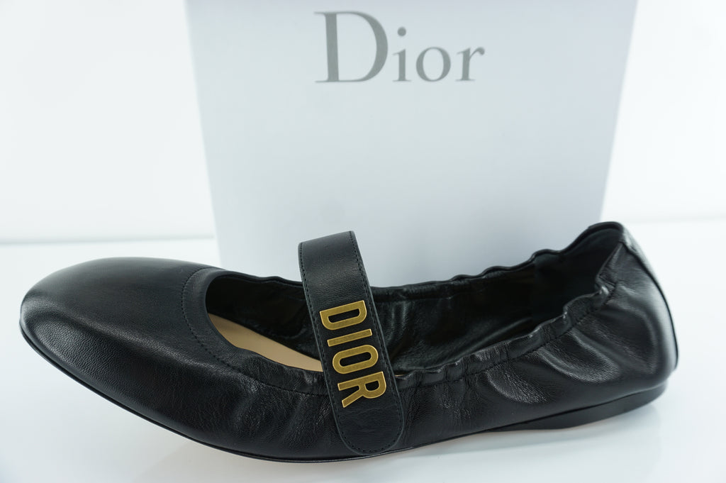 Christian Dior Baby D Ballet Flat SZ 40.5 10.5 $790 Black Leather Metal Logo