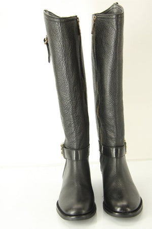 Tory Burch Elina Black Leather Riding Boots size 5.5 NIB $495 Stacked T Logo