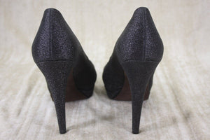 Vera Wang Lavender Black Glitter Selma Open Toe Pumps Size 9.5 $275 Womens's Sz