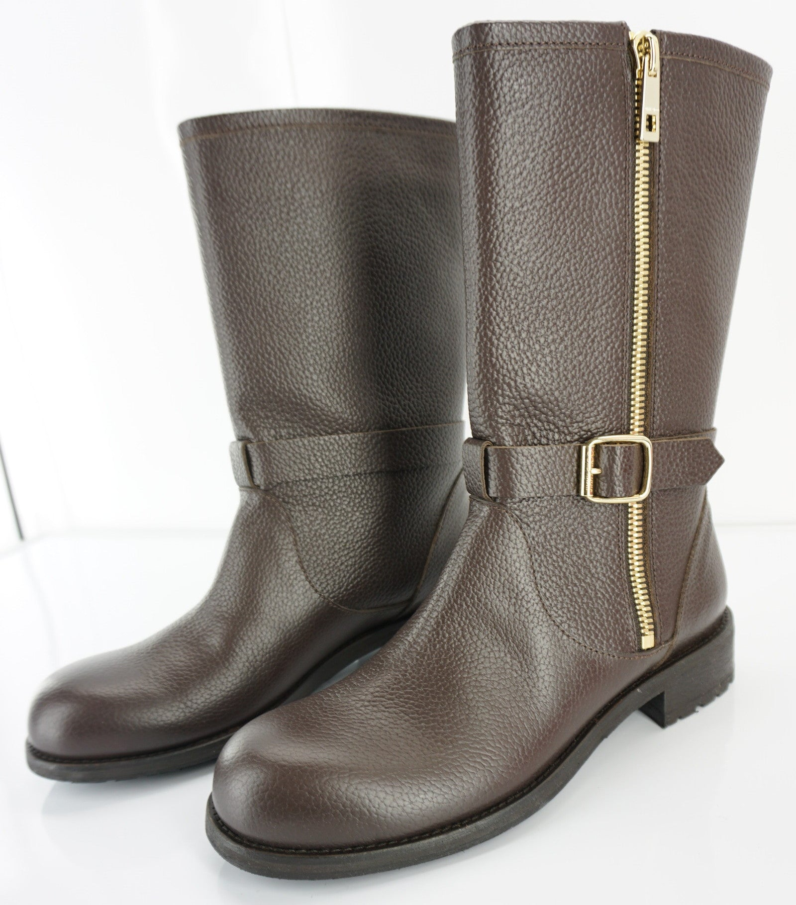 Jimmy Choo Durum Brown Leather Gold Side Zip Biker Boot SZ 40 10 NIB Moto $1095
