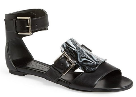 Alexander McQueen Black Leather Flat Ankle Strap Sandals Size 37 Womens New $895