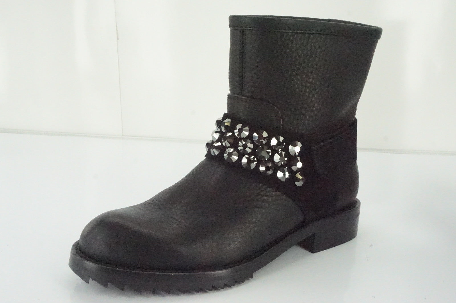 Pedro Garcia Black Leather 'Kian' Crystal Studded Biker Boots Size 35.5 New $875