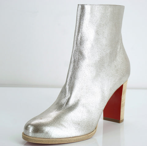 Christian Louboutin Adox Silver Leather Ankle Boots Size 36.5 Red Sole New $945