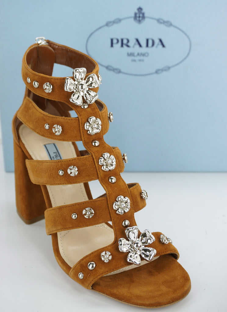 Prada Brown Suede Silver Flower Strappy Heels Sandals Size 37.5 Womens $950 NIB