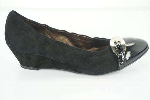 AGL Silver Buckle Strap Cap Toe Ballet Wedge Pumps Size 36.5 Black Suede $340