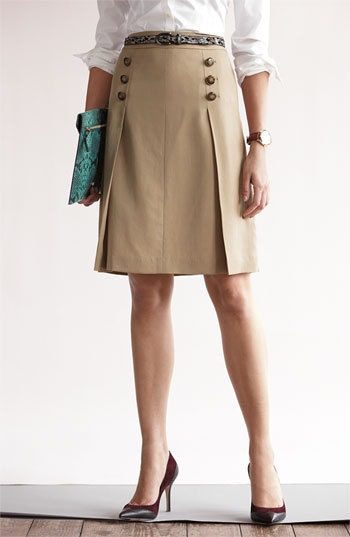 Halogen Tan CareerPleated Button Top Skirt Size 2 New $295 Nordstrom Womens Sz