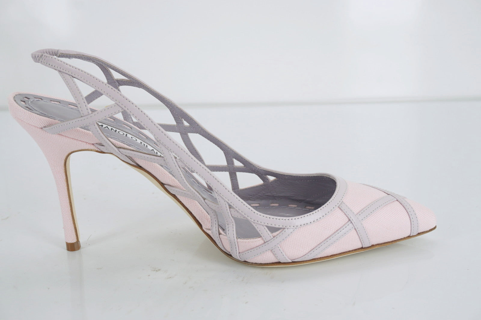 Manolo Blahnik Enatos Pink Purple Lattice Slingback Pointy Pumps SZ 37 NIB $1045