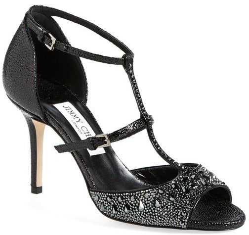 Jimmy Choo Piper Black Studded Crystal Strappy Heel Sandals Size 37.5 New $1575