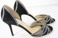 Jimmy Choo Mustique Glitter Mesh Peep Toe d'Orsay Sandals size 40 10 New $795
