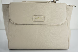 kate spade kendall court nena Gray Leather Crossbody Satchel Bag $378 NWT Flap
