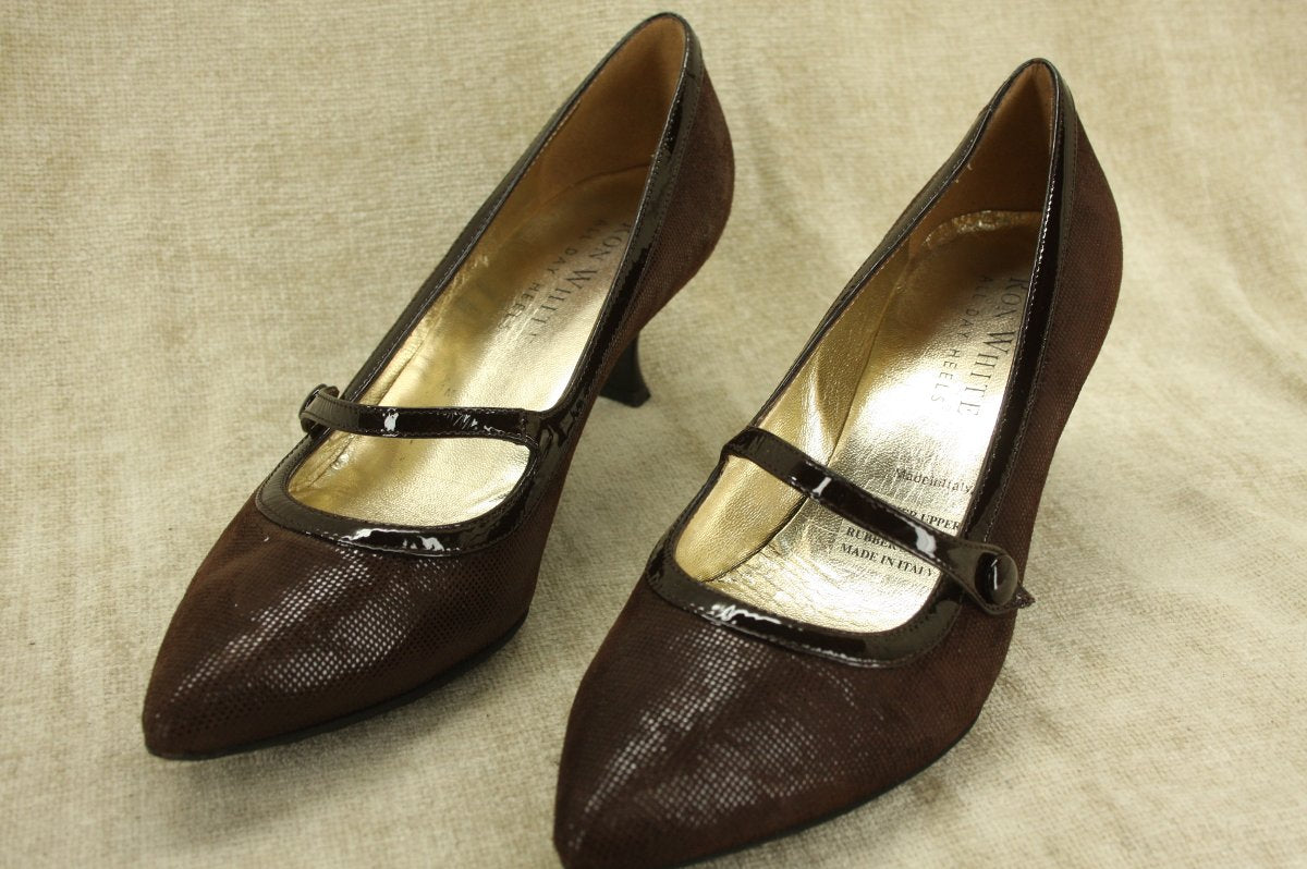 Ron White Brown Shimmer Suede Bijou Mary Jane Pumps SZ 37 New $395