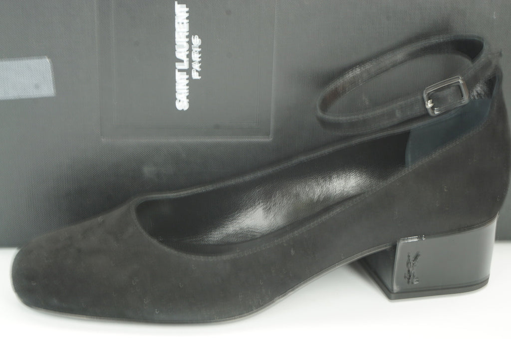 NIB Saint Laurent Babies Ankle Strap Pumps SZ 36 Black Suede YSL