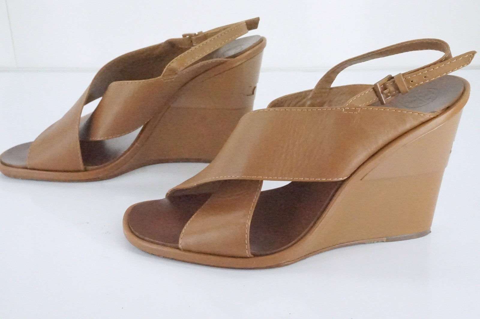 Tory Burch Brown Leather Gabrielle Cross Strap Slingback Wedge Sandals SZ 9 $350