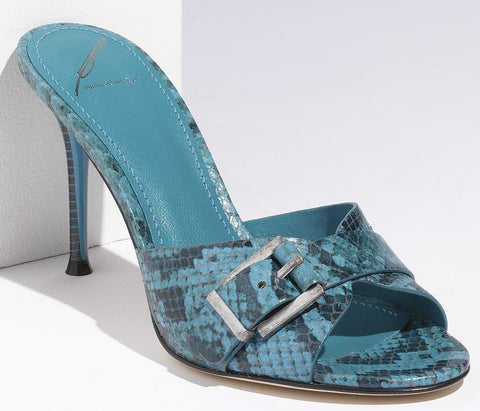 B. Brian Atwood Turquoise Snake Maritima Buckle Slide Sandals Size 8.5 New $295