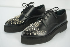 Alexander McQueen McQ Black Leather Studded Toe Women's Shoes Size 39 NIB $835