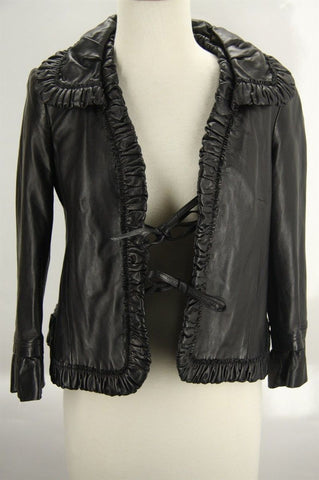 Valentino Runway Ruffled black Leather Biker Jacket size small $1990 tie front