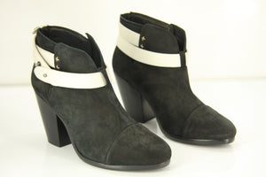 Rag & Bone Harrow Black Suede Ankle Boots SZ 37.5 New Bi-Color $495