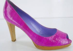 Sergio Rossi Pink Eel Skin Leather 'Peep' Open Toe Pumps SZ 40 10 NEW $695