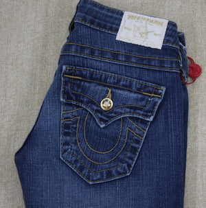 True Religion Disco Gold Straight leg Denim Blue Jeans Size 24 NWT Women's wash