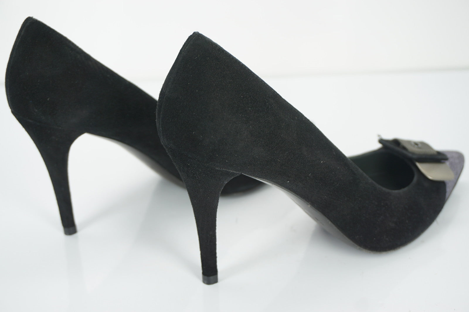 Stuart Weitzman Glitter Cap Toe Pointy Black Suede Pumps SZ 7 Buckle Industry