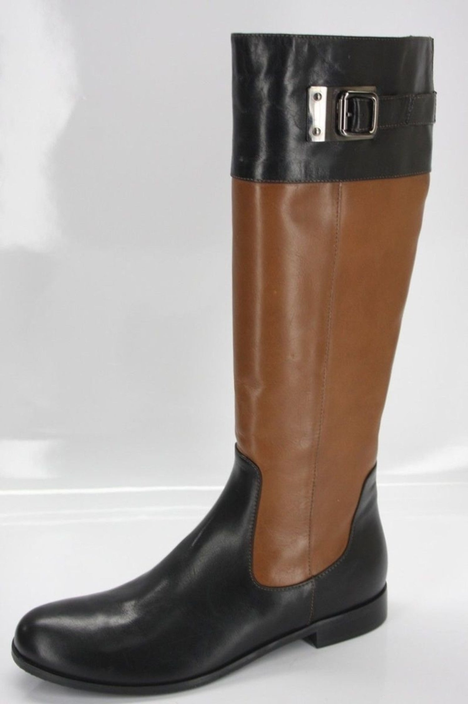 Aquatalia Brown Black Leather Drew Riding Boots SZ 8 NEW $550 Buckle Knee high