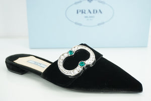 Prada Black Velvet Crystal Broach Mule Flat Pumps size 36 NIB $875 Jewel