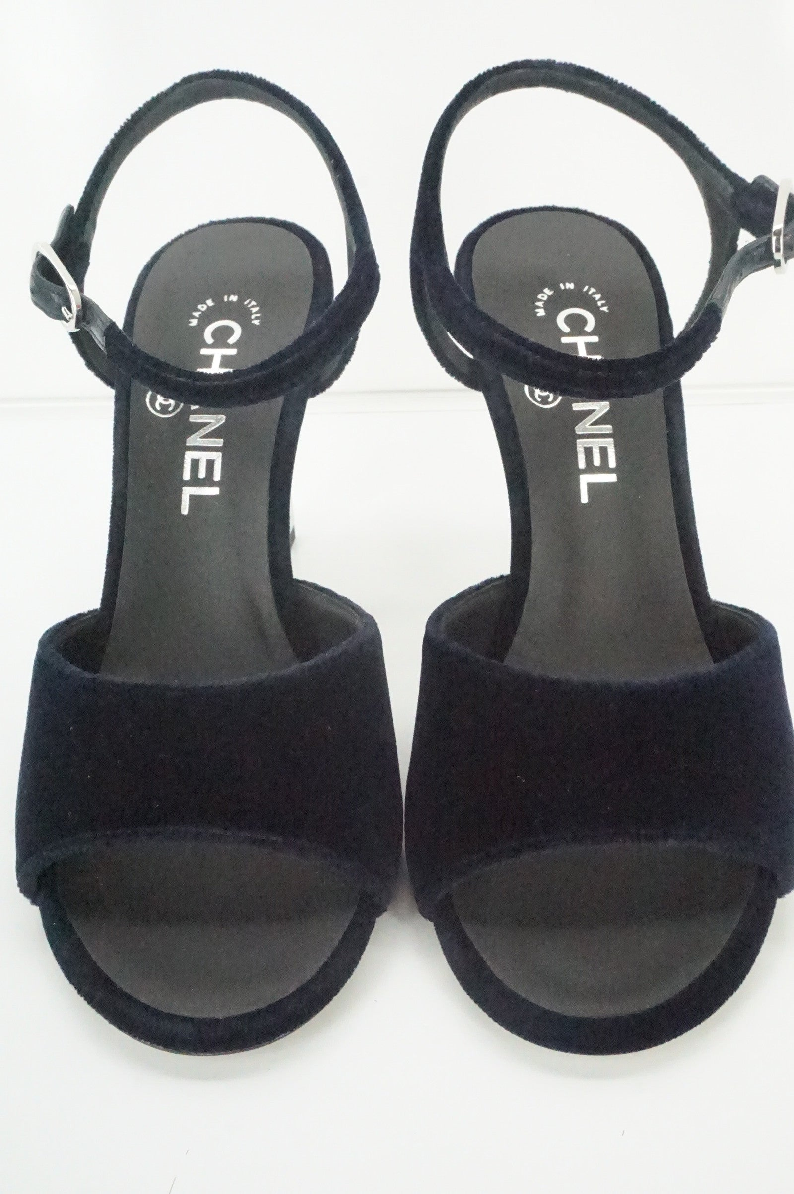 NIB Chanel Ruler Black Velvet Ankle Strap Sandals SZ 36.5 Logo CC peep Toe $1125
