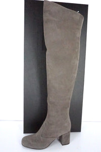Saint Laurent Grey Suede Babies Over the Knee Boots Size 35 OTK NIB $1495