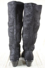Donald J Pliner Womens  Riding Boot Black Suede Size 5.5