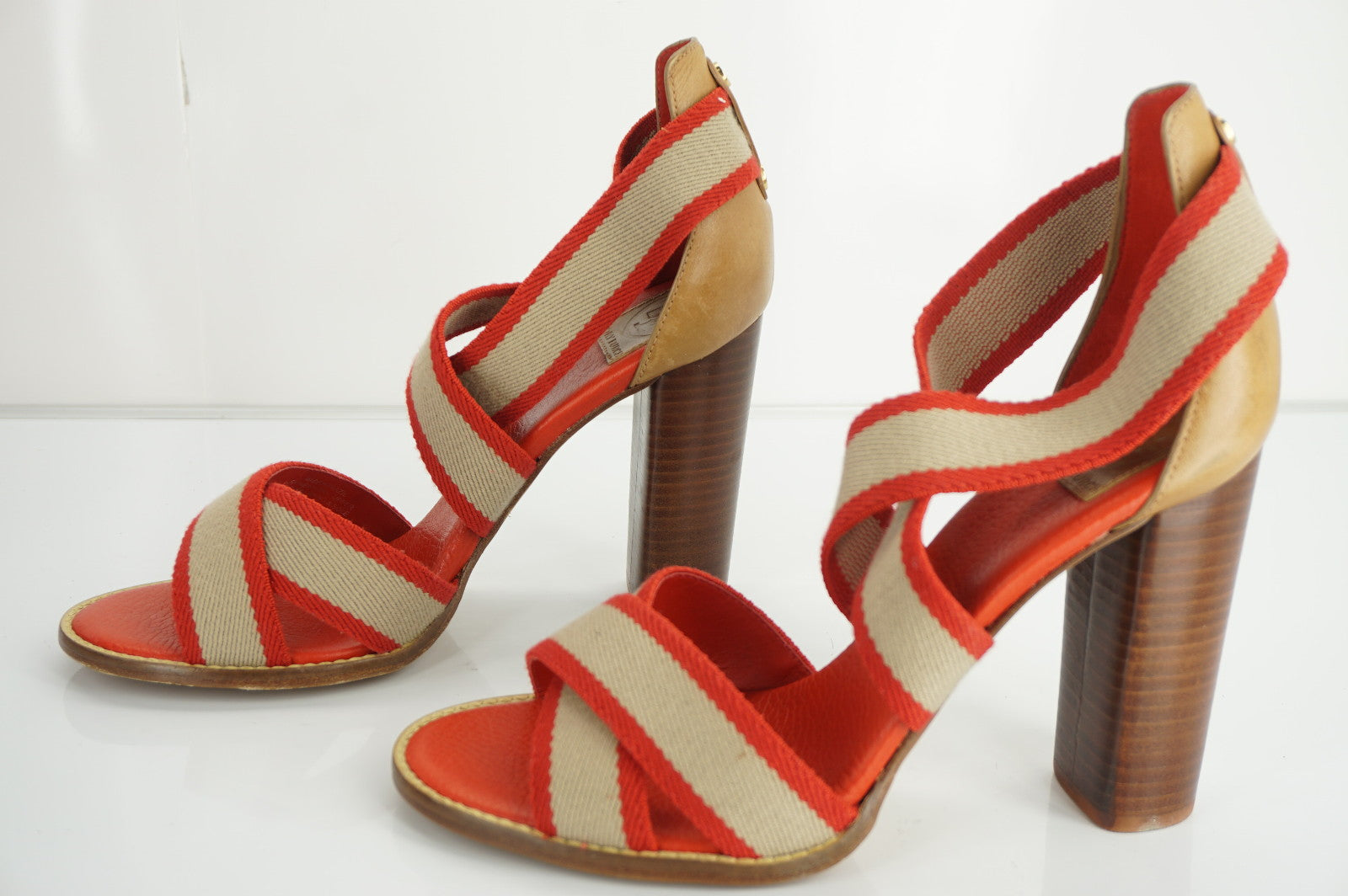 Tory Burch Laurie Red Tan Striped Canvas High Heel Ankle Sandals SZ 9.5 New $285