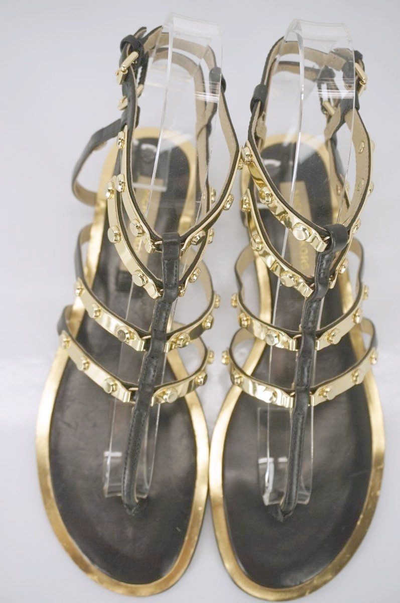Michael Kors Hollie Studded Ankle Strappy Caged Thong Sandal SZ 6.5 Gold $350