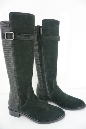 Aquatalia Black Suede Gael Stretch Back Knee High Riding Boots Size 7 $595