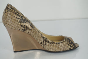 Jimmy Choo Womens Baxen Wedge Pump Brown Snake Leather Size 36.5