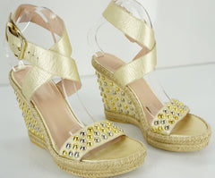 Stuart Weitzman Gold Leather 'Hubcaps Bullets' Wedge Sandals SZ 9.5 New $425