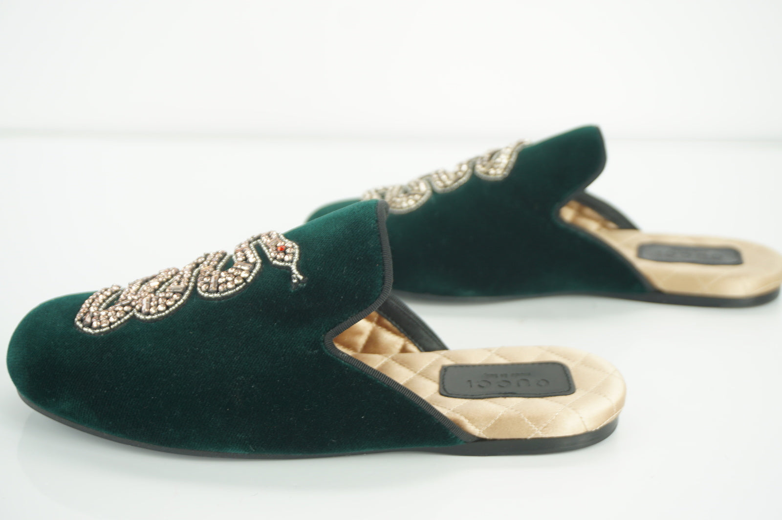 Gucci Womens Lawrence Mule Slipper Green Velvet Size 35