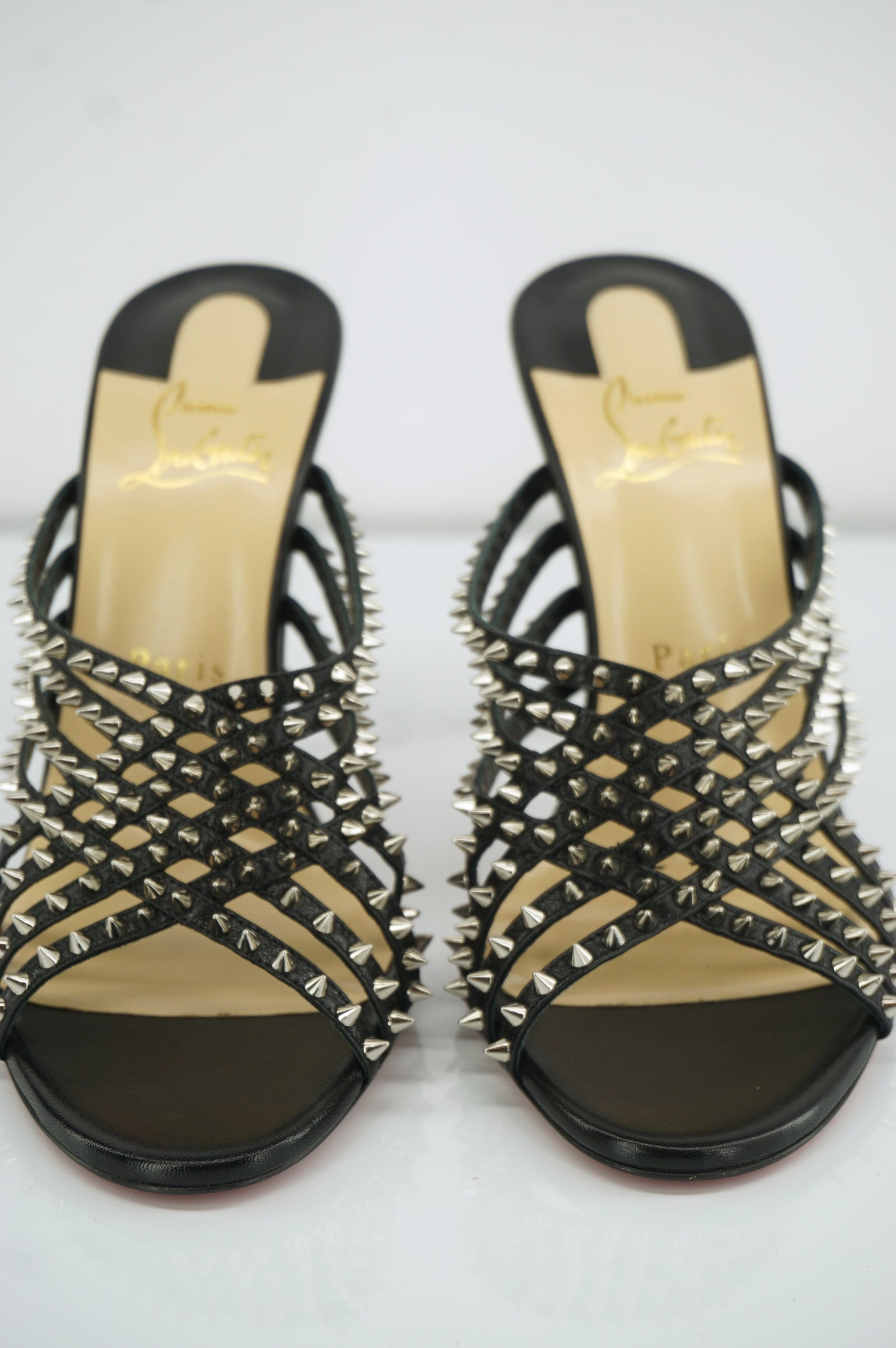 Christian Louboutin Marthaspike Leather Sandals Size 38.5 Black $995 Strappy NIB