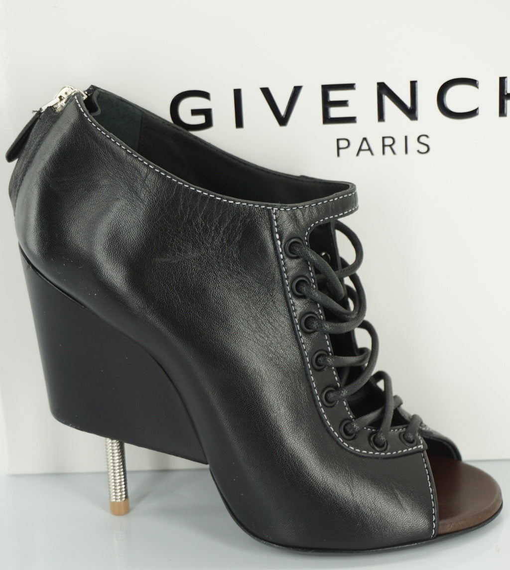 Givenchy Black Leather Nissa Peep Toe Ankle Booties Size 38 Wedge NIB $1625 SZ