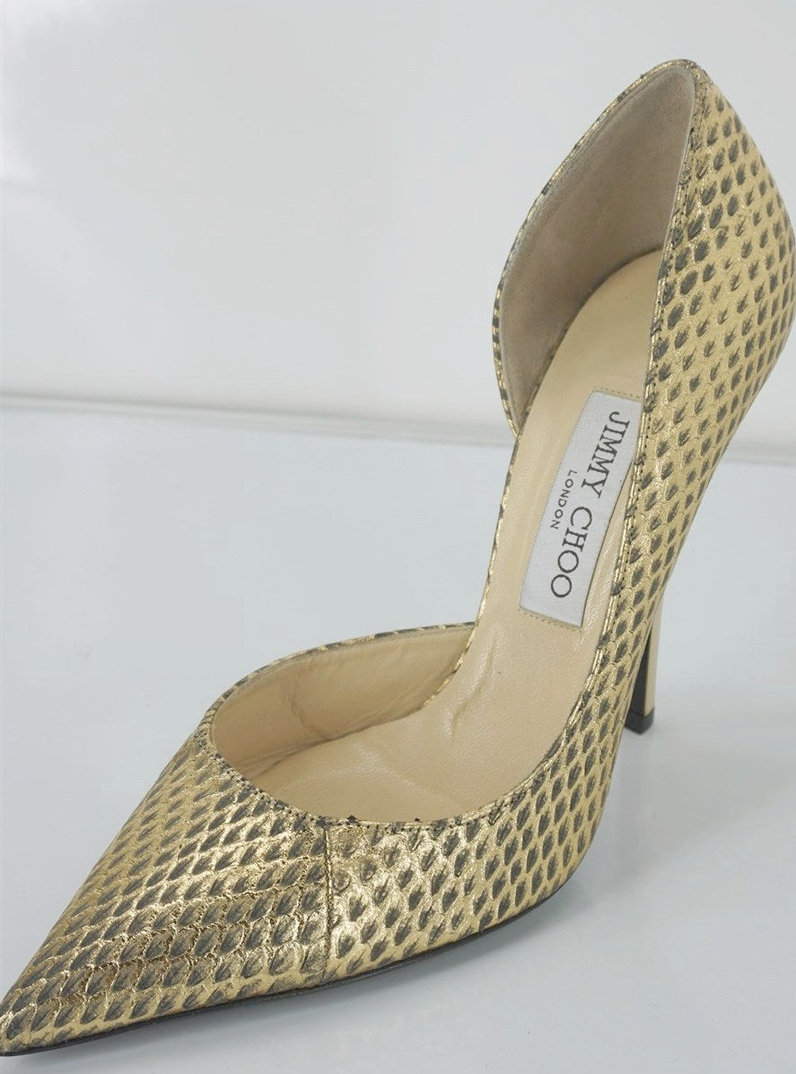 Jimmy Choo WIllis Gold Snake Half d'Orsay Pointy Pumps Size 38.5 High Heels $975