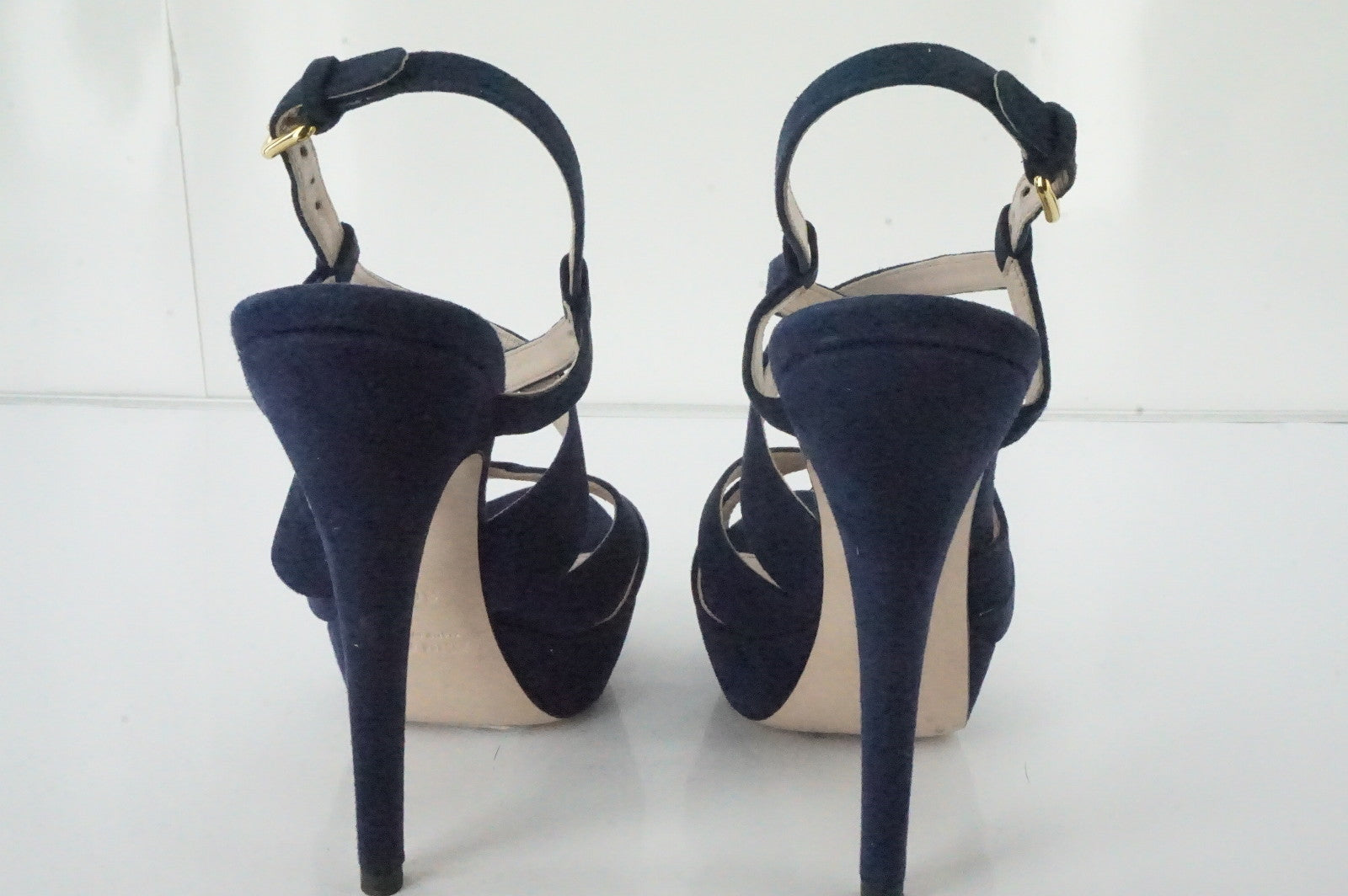 Miu Miu Blue Suede Strappy Platform Sandals Size 36.5 Navy High Heels New $795
