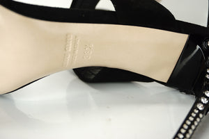 Miu Miu Double Strap Crystal Studded High Heel Mule Sandals SZ 38.5 NIB $950