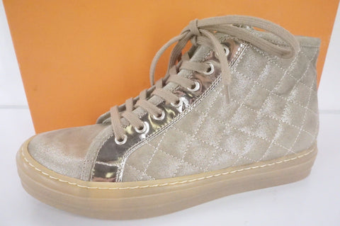 Attilio Giusti Leombruni Quilted Suede Ginger High Top Sneaker Size 38.5 NIB AGL