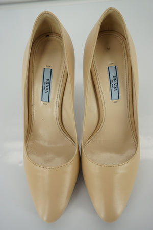 Prada Nude Leather Platform Pointy Toe High Heel Pumps Size 38.5 $695 New