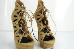 SAINT LAURENT Tribute Lace-Up Platform Sandals SZ 40 10 Taupe Suede YSL $995 NIB