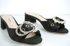 Miu Miu Black Satin Jewel Buckle Slide Sandal size 38.5 NIB $790 Crystal