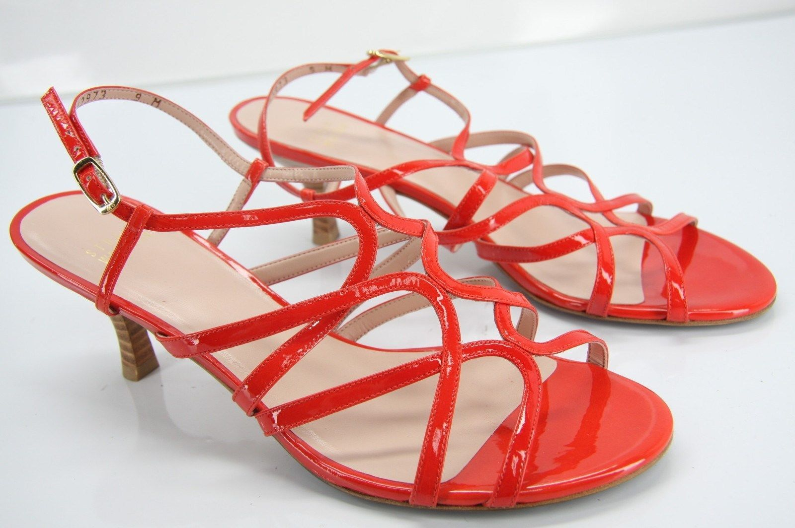 Stuart Weitzman Turning Red Patent Caged Strappy Sandals Size 9 heels New$355 Sz