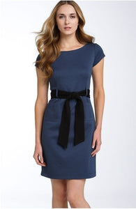 New Theory Blue Rayon Salmona Black Belt Cap Sleeve Dress Size Small $285 Sz