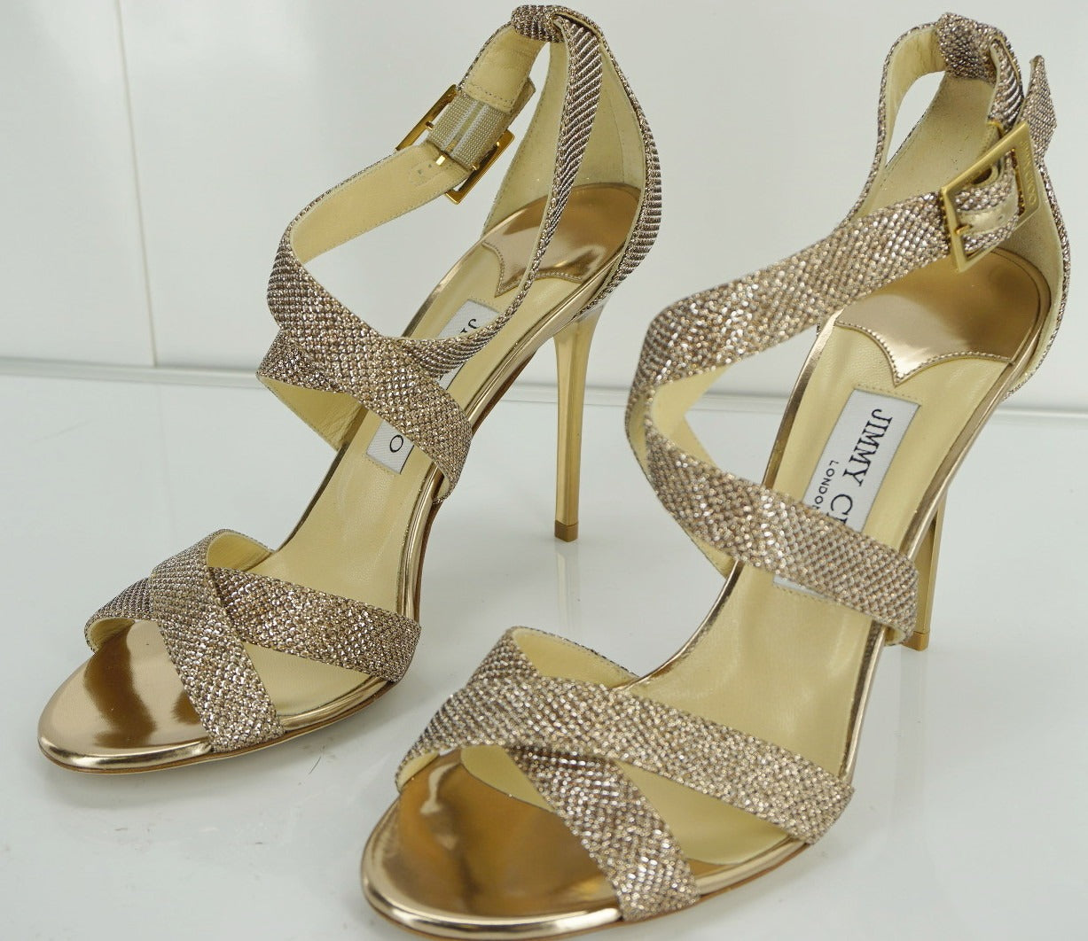 Jimmy Choo Lottie Glitter Ankle Strappy Sandal SZ 39.5 New $750 High Heel