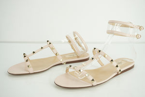 Valentino Pink Leather Rockstud Moonwalk Ankle Strap Sandal Size 39.5 NIB $795