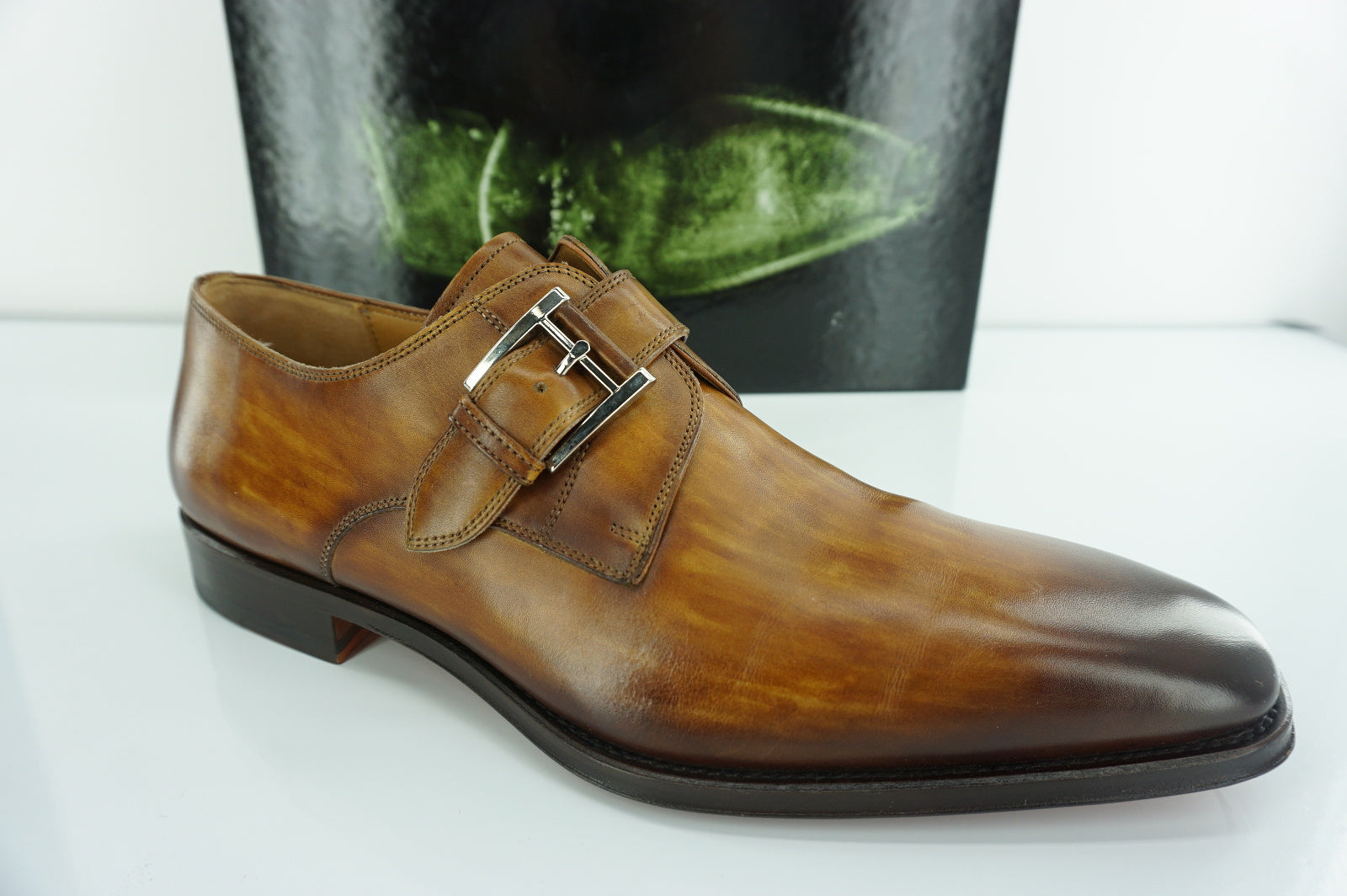 Magnanni Marco Brown Leather Monk Strap Loafers SZ 10 slip on buckle NIB